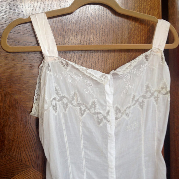 Wedding - victorian lace step ins antique undergarments lingerie white slip bloomers