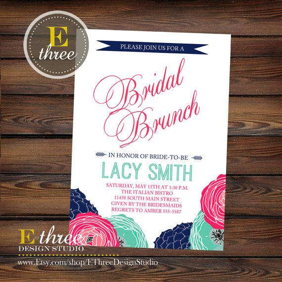 Mariage - Bridal Shower Brunch Invitation - Pink, Navy, and Teal Floral Wedding Shower Brunch Invite
