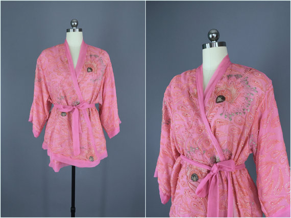 Mariage - Kimono / Silk Kimono Robe / Kimono Cardigan / Kimono Jacket / Wedding lingerie / Vintage Sari / Art Deco / Downton Abbey / Chiffon Beaded