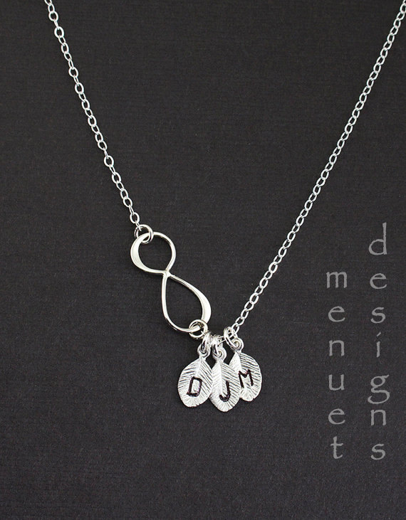 Wedding - Personalized Infinity Necklace, Mother's Day jewelry, Monogrammed Three Initial, Silver Leaf Charm Pendant, Bridal,friendship Necklace,