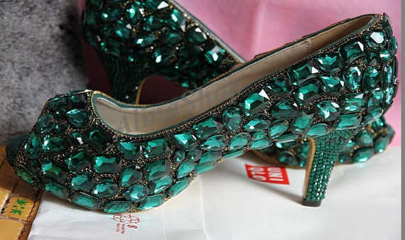 Wedding Shoes Emerald Green Swarovski Crystal Rhinestone Green Bridal Heels Sparkly  Wedding Heels, Luxury Peep Toe Heels Custom Color Shoes