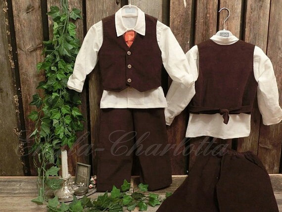 Mariage - Dark brown corduroy boys suit.Toddler suit.Rind bearer outfit.Rustic wedding outfit.