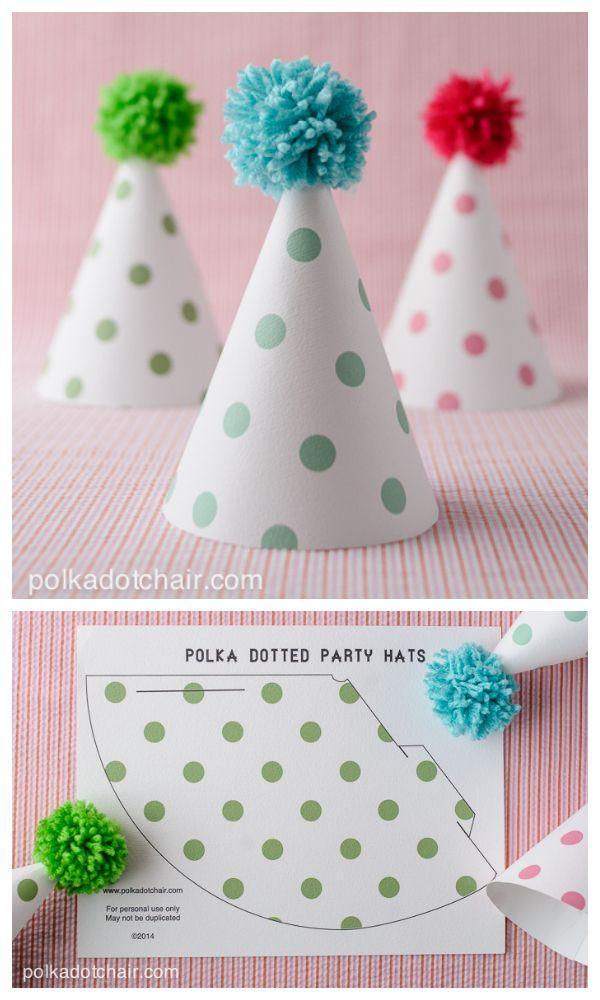 Hochzeit - Printable Pom Pom Polka Dot Party Hats On Polkadot Chair