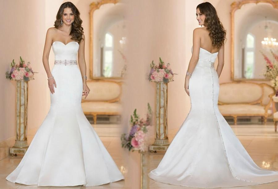 Mariage - 2015 New Arrival Sweetheart Beaded Sash Satin Mermaid Wedding Dresses Covered Button Court Train Bridal Gowns Dresses Online with $120.16/Piece on Hjklp88's Store