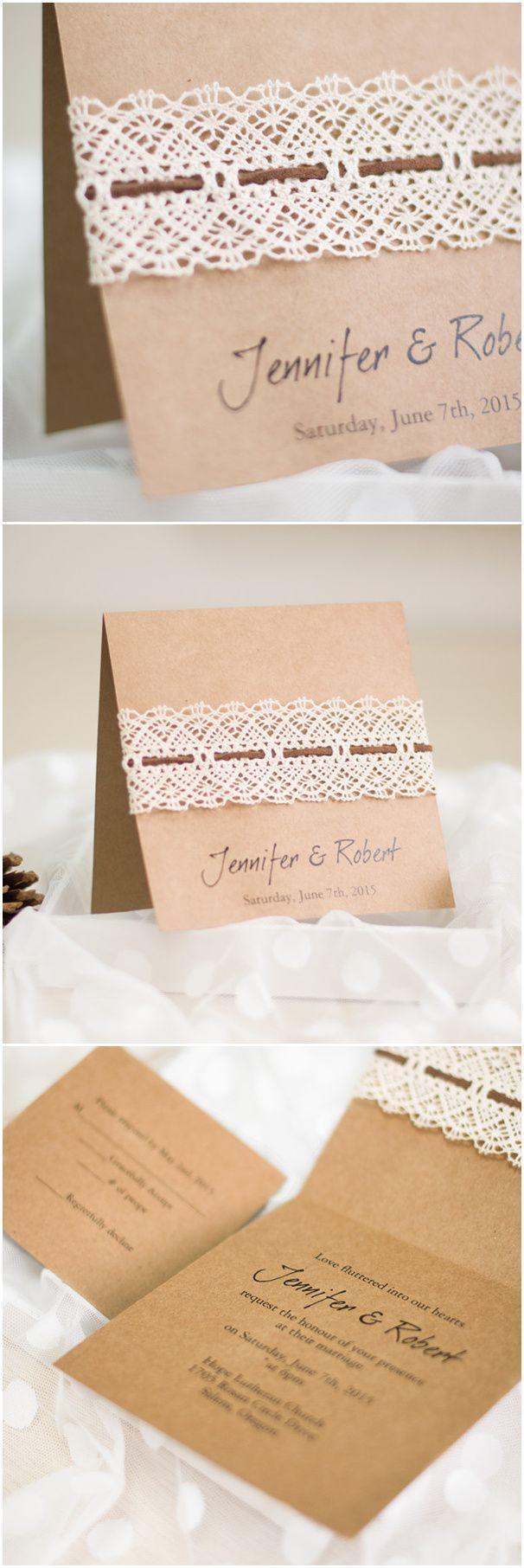 Свадьба - Affordable DIY Vintage Rustic Lace Folded Wedding Invitations EWLS044