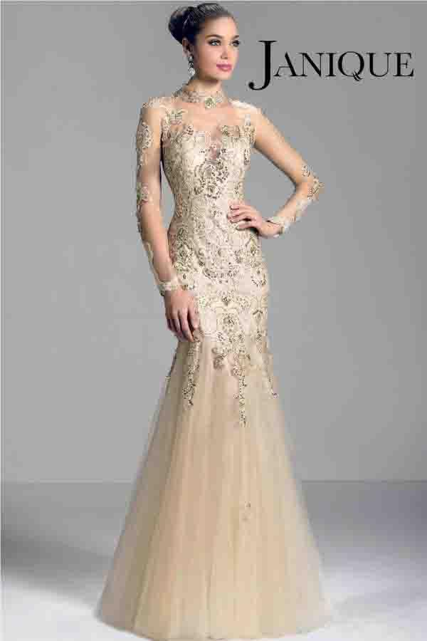 2015 Elegant Champagne Mother Of The Bride Dresses Long Sleeve ...