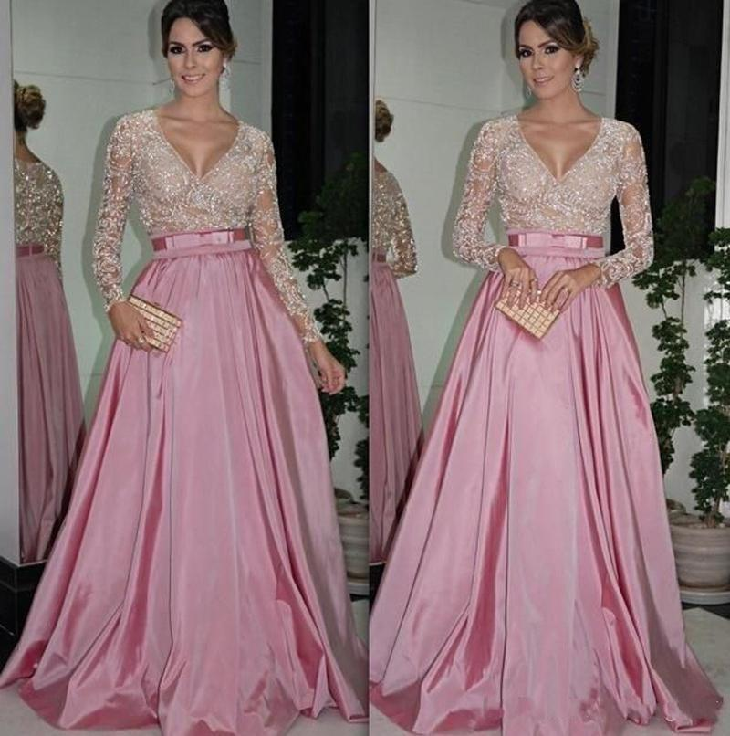 Evening Dresses With Long Sleeves V Neck Beaded Bodice Ruffled ...
