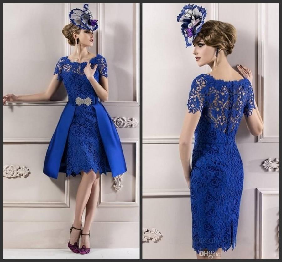 7d2de33ef9c Modest Custom Made 2014 Elegant Mother Lace Royal Blue Short Sleeves Evening  Dress  Mother of the Bride Dresses Man2554 Online with  104.28 Piece on ...