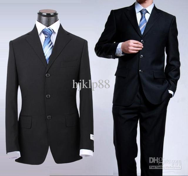 NEW High Quality Black/Blue Men's Suits Groom Wear & Accessories ...