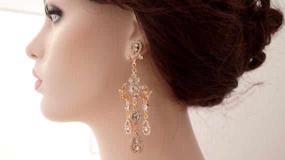Rose Gold Chandelier Earrings-Rose Gold Bridal Earrings-Rose Gold ...