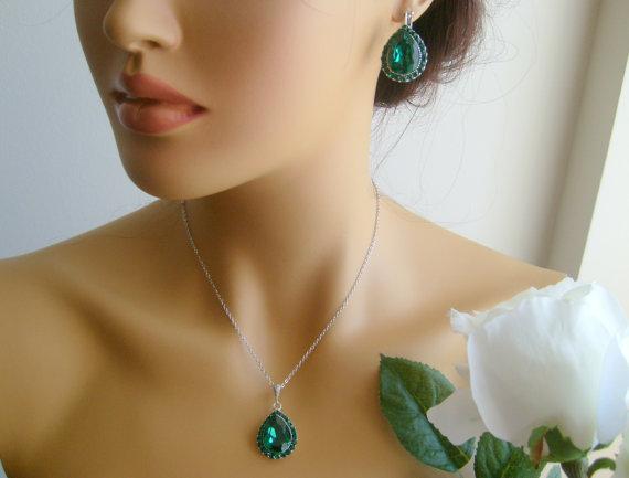 c00c22886b5fe Vintage Inspired Art Deco Swarovski Crystal Rhinestone Emerald Green ...