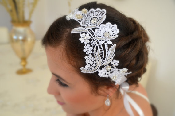 Vintage Inspired Hand Made Beaded Lace Bridal Headband Floral Lace