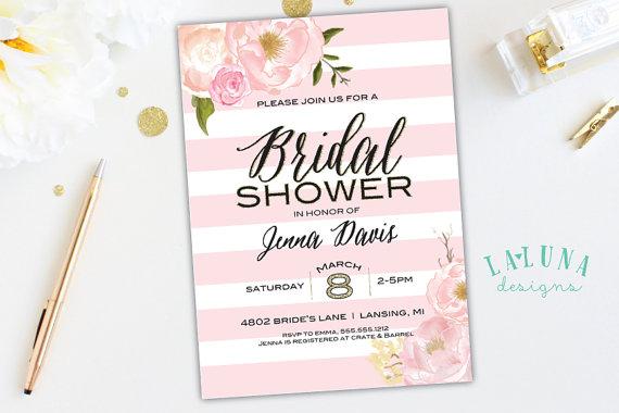 Mariage - Bridal Shower Invitation, Pink Floral Shower Invite, Pink Stripe Invitation, Glitter Invitation, Pink & Gold Invitation, DIY Printable