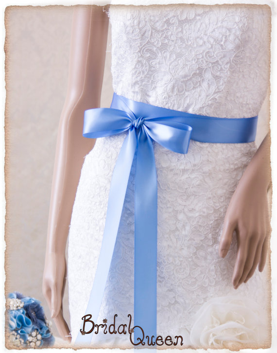 Hochzeit - Wedding Sash, FRENCH BLUE Bridal Sash, Satin Ribbon Sash, Satin Bridal Sash, Bridesmaids Sash