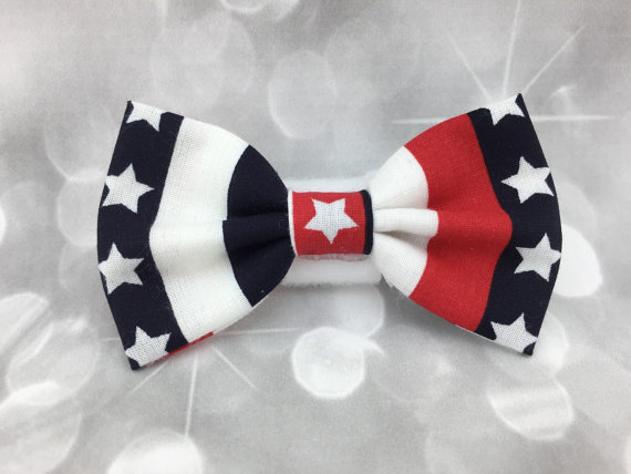 Свадьба - Patriotic Bunting Stripes Fourth of July Small Pet Dog Cat Bow / Bow Tie