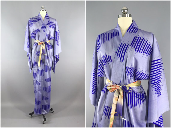 / Wedding Lingerie / Downton Abbey / Art Deco Kimono / Blue Yukata