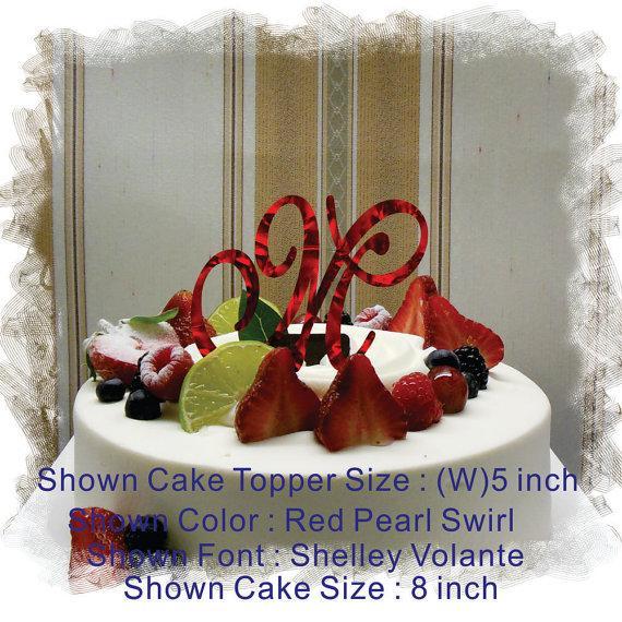 "Wedding - Monogram Wedding Cake Topper - 5""or 6"" Beautiful Single Monogram letter Cake Topper ( Special Custom Made Initial Wedding Topper )"
