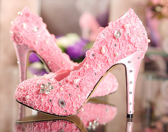 Pink Lace Wedding Shoes Handmade Lace Flower Wedding Shoes,Lace ...
