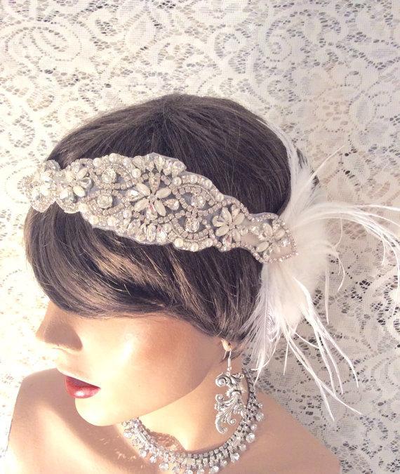 Mariage - Bridal headpiece rhinestone headband flapper headband bridal headband bridal accessories hair accessories white 1920's wedding headband