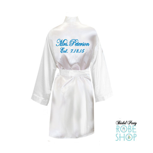 231181cbb5 Personalized Knee Length Satin Bridal Robe With Name On The Back ...