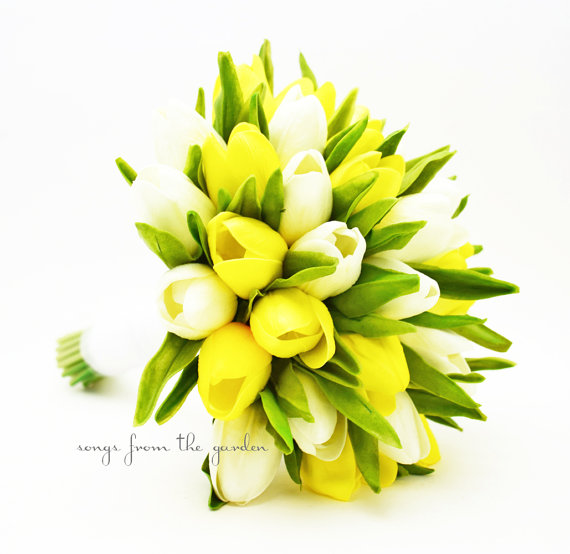 Mariage - Real Touch Yellow White Tulips Bridal Bouquet Tulip Wedding Flower Real Touch Real Touch Artificial Tulips Yellow White Wedding Bouquet