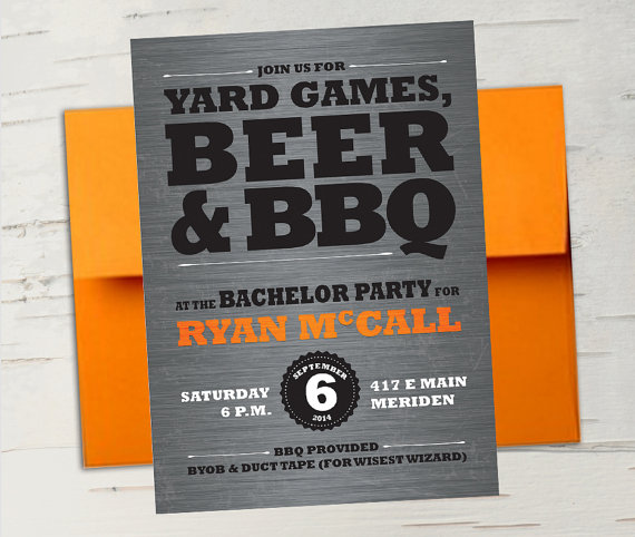 زفاف - Beer & BBQ Bachelor Party Invitation