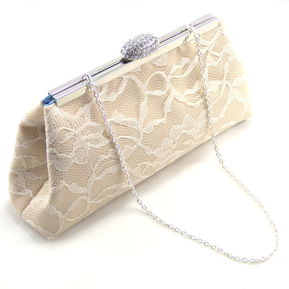 Mariage - Bridesmaid Gift, Champagne, Ivory Lace and Cornflower Blue Bridesmaid Clutch, Custom Bridal Clutch, Wedding Clutch, Mother of the Bride Gift