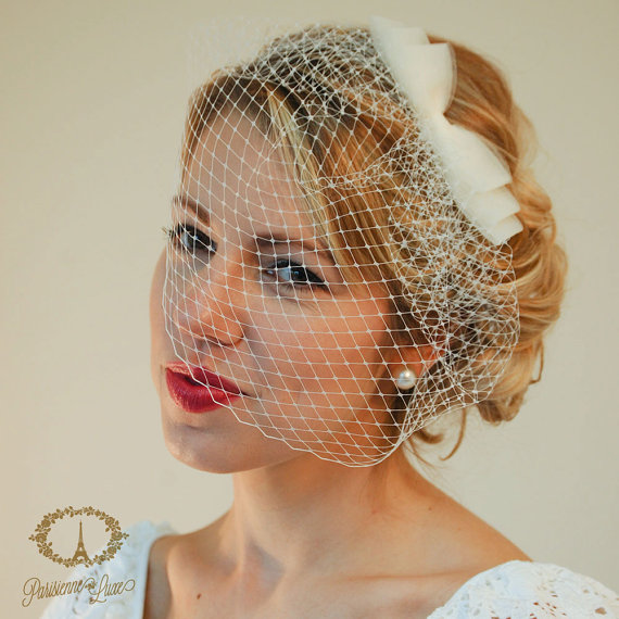"""Wedding - Birdcage Veil with Bow, Russian Netting, Blusher Veil, Bridal Birdcage Veil, Wedding Head Piece, Ivory, White, Champagne, Black """"Cosette"""""""""""