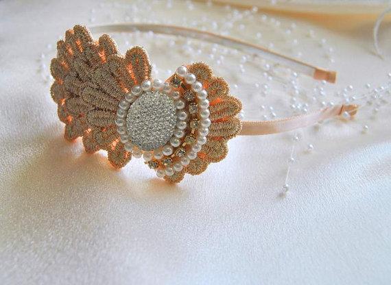 Hochzeit - Romantic Lace Wedding Headpiece Pearls Floral Bridesmaids Beaded Bridal Headband Headwear