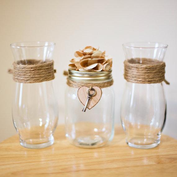 Rustic Key To My Heart Mason Jar Unity Sand Ceremony Vase Set