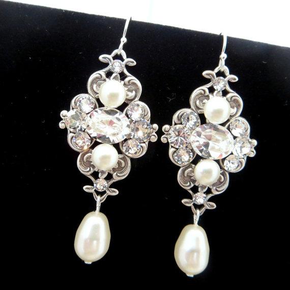 زفاف - Ivory pearl earrings, bridal earrings, wedding jewelry, Vintage style earrings, Swarovski pearls and Swarovski crystals, ASHLYN