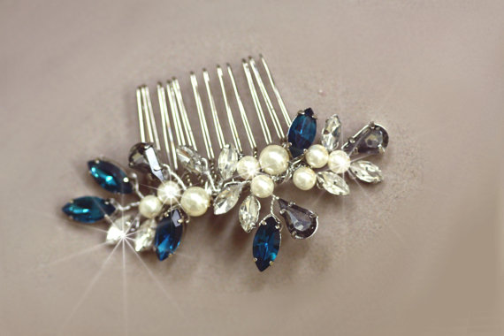 Wedding - wedding hair crystal combs -Bridal Hair ,Vintage inspired ,Pearl Comb, Swarovski comb, Wedding Accessories,Black Diamond, Grey,Emerald Green