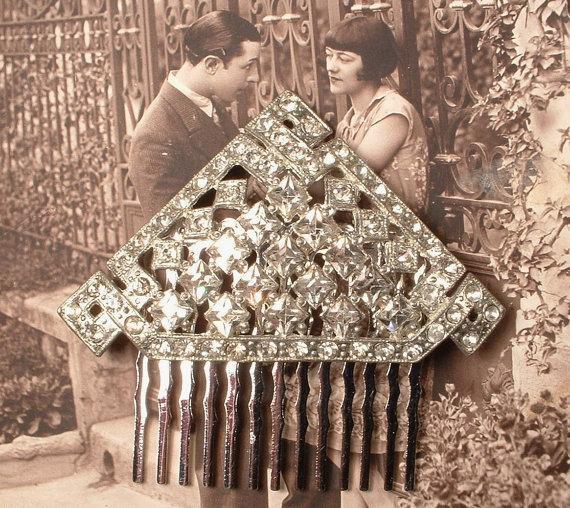 Wedding - 1920s Flapper Rhinestone Bridal Hair Comb or Fur Clip, Art Deco Clear Crystal Roaring 20s Headpiece or Silver Antique Wedding Accessory