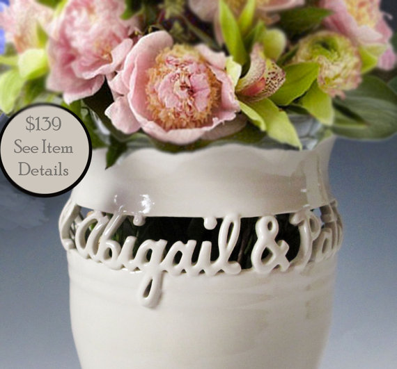 Mariage - First Names Only - Wedding Vase, Anniversary Gift - Sweetheart Vase