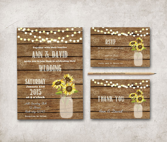 Hochzeit - Rustic Wedding Invitation Printable, Digital File - Sunflower Mason Jar Wedding Invitation Suite