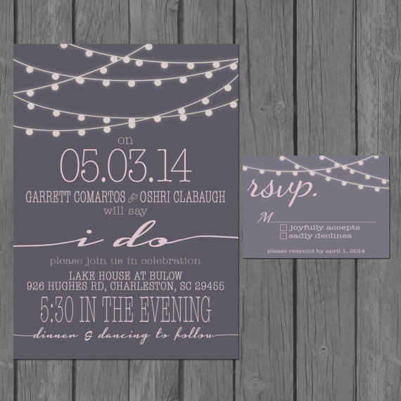 simple wedding invitation modern strings of lights engagement