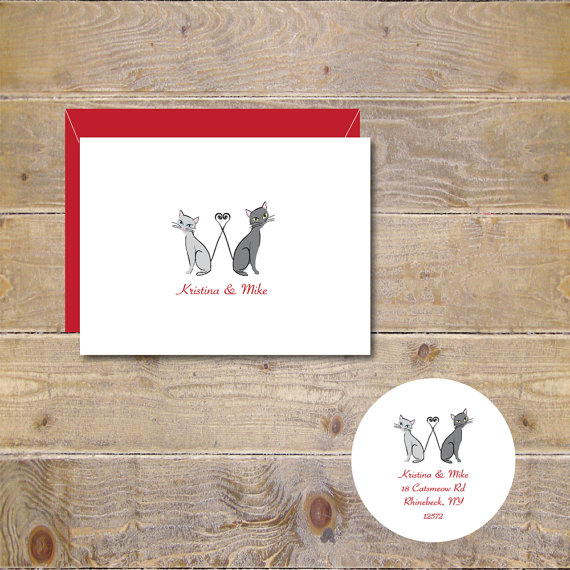 زفاف - Cat Wedding Thank You Cards, Cats,  Cat Bridal Shower Cards, Cat Themed Cards, Rustic Wedding Cards
