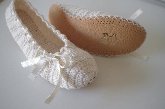Wedding - Slipper and leather bottom Bridal wedding dance shoes
