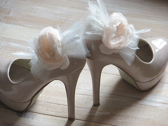 26dcb38d695dd Champagne Shoe Clips Champagne Wedding Flowers Champagne Shoes Cream ...