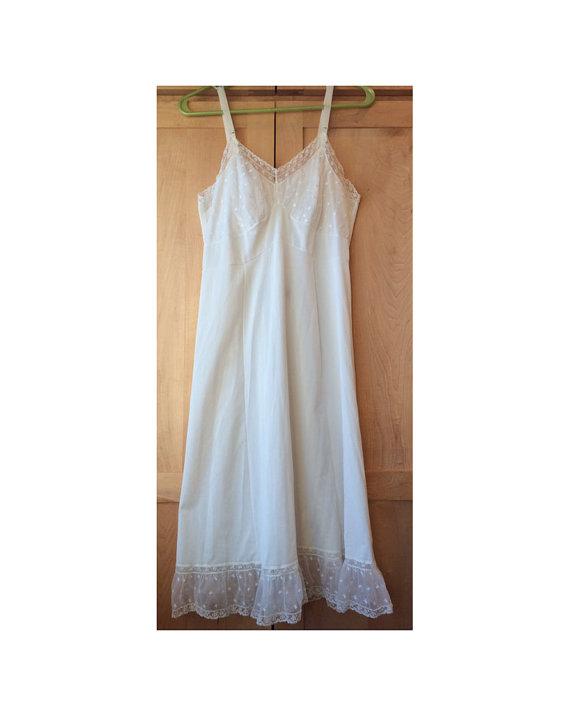 Wedding - Ruffles & Roses White Long Vintage Full Slip - Size 34