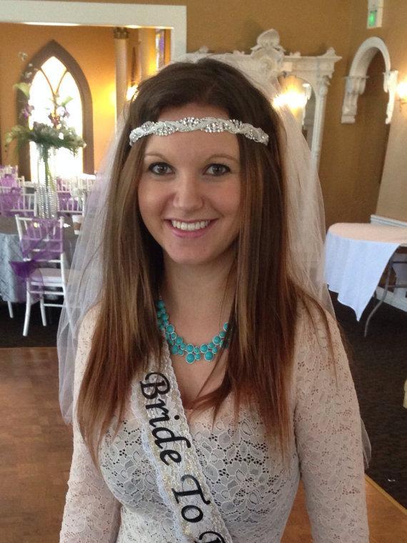 Wedding - Bohemian Bachelorette Veil - tiara headband veil