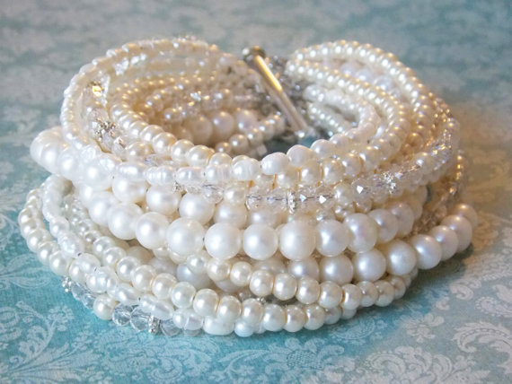 Bridal Jewelry Bracelet Chunky Pearl Wedding Pearls For Brides Cuff Ivory