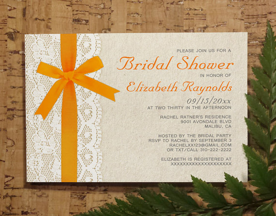 Wedding - Orange Bow Lace Bridal Invitations, Bridal Shower Invitations, Wedding Shower Party Invites, Printable, Digital PDF, DIY Template, Printed