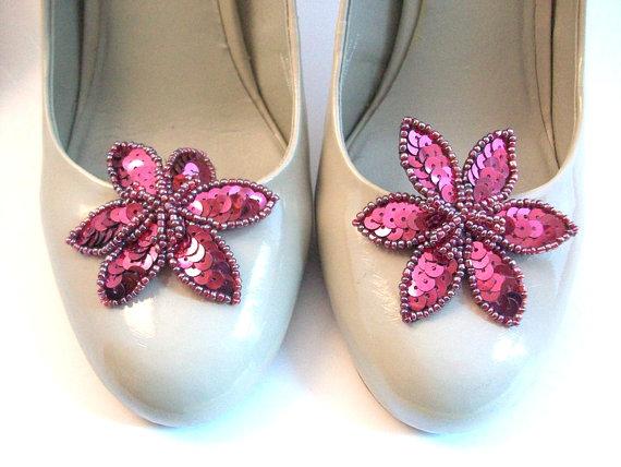 Mariage - LAST ONE! Sequin Shoe Clips, Purple Shoe Clips, Flower Shoe Clips, Sequin Flower Shoe Clips, Shoe Accessories, Beaded Shoe Clips, Shoe Clips