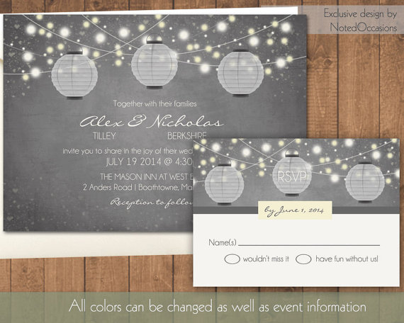 Wedding - Paper Lantern Wedding Invitation - Rustic  Wedding Invitations with dangling lights and Paper Lanterns Chalkboard Digital Printable File