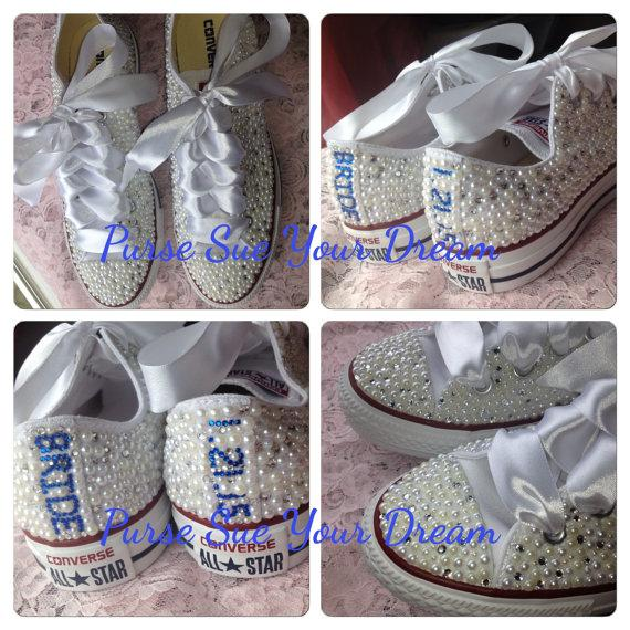 1e090370a8d048 Bridal Custom Shoes - Swarovski Crystal Wedding Shoes - Pearl and Rhinestone  Converse - Bride Shoes