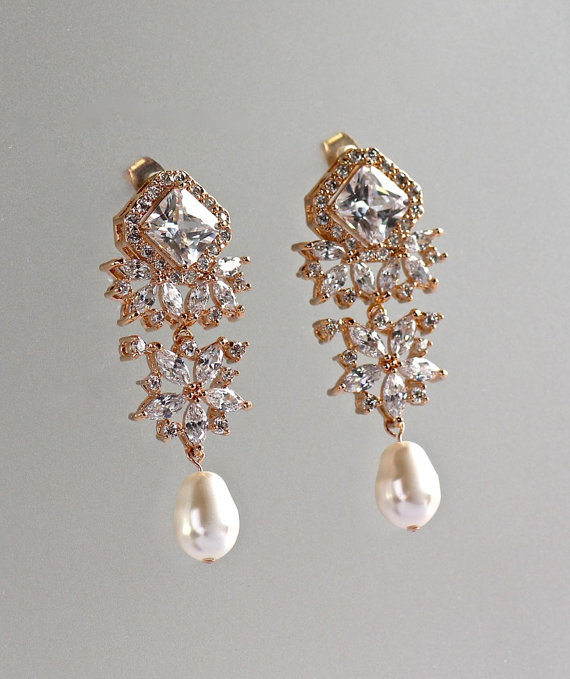 Crystal Chandelier Earrings Rose Gold Bridal Pearl Drop Jewelry Lisa Tp
