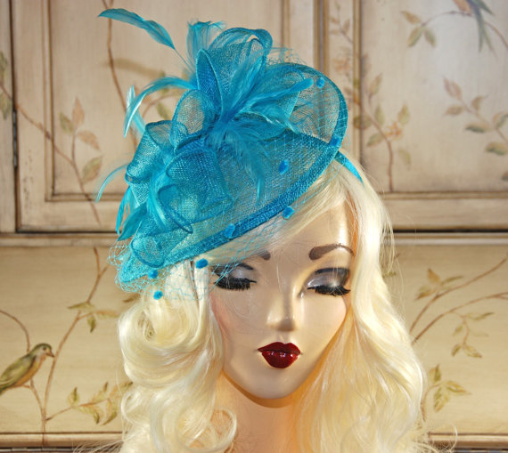 893f70306916c Turquoise Blue Fascinator Hat - Aqua Kentucky Derby Hat - British Tea Party  Fascinator - Wedding Fascinator - Cocktail Hat - Church Hat