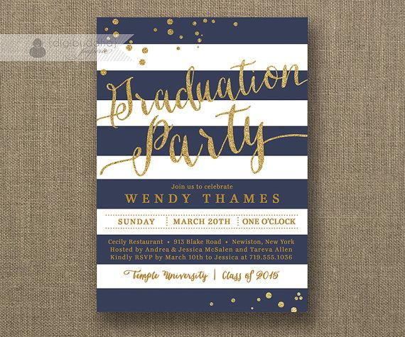 زفاف - Navy Blue & Gold Graduation Party Invitation Glitter Horizontal Stripes Modern Bachelorette  FREE PRIORITY SHIPPING or DiY Printable - Wendy