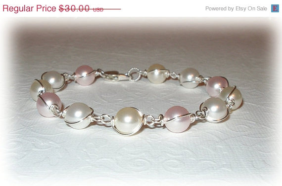 Mariage - ON SALE 15% OFF Pearl Wrapped Bracelet Swarovski Crystal Pearls Bridal Party Wedding Bridesmaids Jewelry Pink White Blush